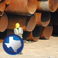 texas map icon and a municipal engineer with iron sewer pipes
