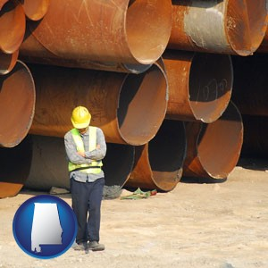 a municipal engineer with iron sewer pipes - with Alabama icon