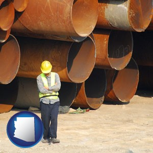a municipal engineer with iron sewer pipes - with Arizona icon
