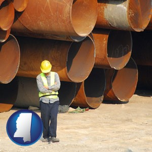 a municipal engineer with iron sewer pipes - with Mississippi icon