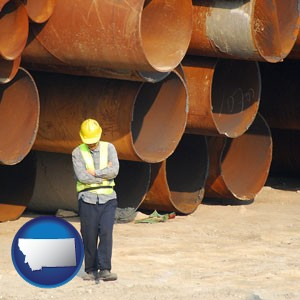 a municipal engineer with iron sewer pipes - with Montana icon