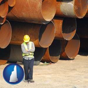 a municipal engineer with iron sewer pipes - with New Hampshire icon