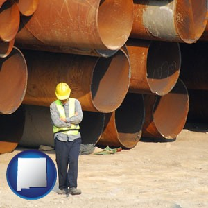 a municipal engineer with iron sewer pipes - with New Mexico icon