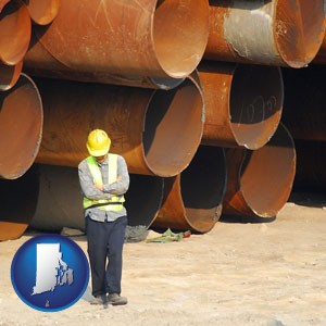 a municipal engineer with iron sewer pipes - with Rhode Island icon
