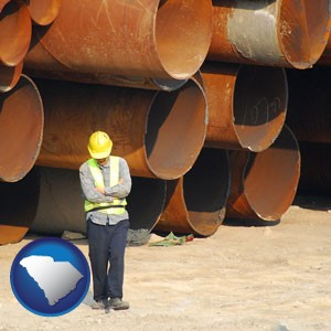 a municipal engineer with iron sewer pipes - with South Carolina icon