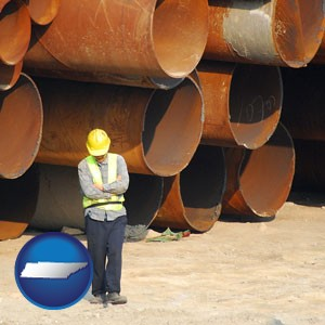 a municipal engineer with iron sewer pipes - with Tennessee icon