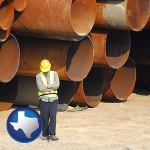 a municipal engineer with iron sewer pipes - with Texas icon